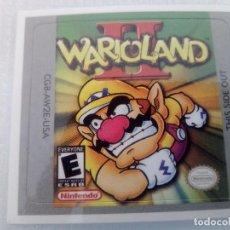 Videojuegos y Consolas: ETIQUETA PEGATINA WARIO LAND 2 NINTENDO GAME BOY GAMEBOY . Lote 191349232