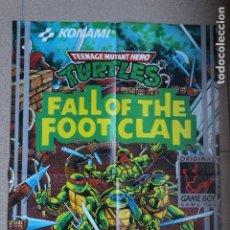 Videojuegos y Consolas: POSTER GAMEBOY NINTENDO MATUTANO TURTLES FALL OF THE FOOT CLAN. Lote 193056341