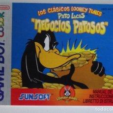 Videojuegos y Consolas: NINTENDO GAME BOY MANUAL LOONEY TUNES PATO LUCAS VERSIÓN ESPAÑOLA ORIGINAL GB. Lote 201787518