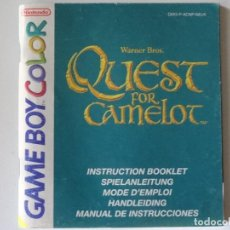 Videojuegos y Consolas: NINTENDO GAME BOY MANUAL QUEST FOR CAMELOT VERSIÓN ESPAÑOLA ORIGINAL GB. Lote 201787810