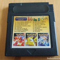 Videojuegos y Consolas: JUEGO GAME BOY CLASSIC 16 EN 1 , POKEMON ROJO AMARILLO AZUL , ETC RARO , FUNCIONANDO. Lote 209600512