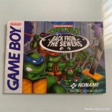 Videojuegos y Consolas: MANUAL DE INSTRUCCIONES NINTENDO GAME BOY BACK FROM THE SEWERS TEENAGE MUTANT NINJA TURTLES II. Lote 213715637