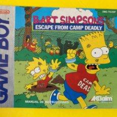 Videojuegos y Consolas: MANUAL DE INSTRUCCIONES GAMEBOY 1991 ORIGINAL BART SIMPSONS ESCAPE FROM CAMP DEADLY LIBRO LIBRETO. Lote 214322357