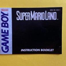 Videojuegos y Consolas: MANUAL DE INSTRUCCIONES GAMEBOY SUPERMARIO LAND 1989 ORIGINAL NINTENDO INSTRUCTION BOOKLET LIBRETO. Lote 214323917