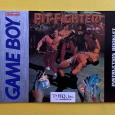 Videojuegos y Consolas: MANUAL DE INSTRUCCIONES GAME BOY PIT FIGHTER 1991 ORIGINAL NINTENDO INSTRUCTION BOOKLET LIBRETO. Lote 214324405