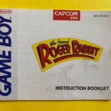 Videojuegos y Consolas: MANUAL DE INSTRUCCIONES GAME WHO FRAMED ROGER RABBIT ORIGINAL NINTENDO INSTRUCTION BOOKLET LIBRETO. Lote 214324757