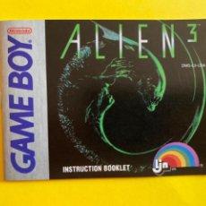Videojuegos y Consolas: MANUAL DE INSTRUCCIONES GAME BOY ALIEN 3 1992 NINTENDO INSTRUCTION BOOKLET LIBRETO. Lote 214324997