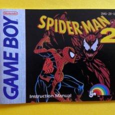 Videojuegos y Consolas: MANUAL DE INSTRUCCIONES GAME BOY SPIDER MAN 2 INSTRUCTION MANUAL 1992 NINTENDO LIBRETO. Lote 214325562