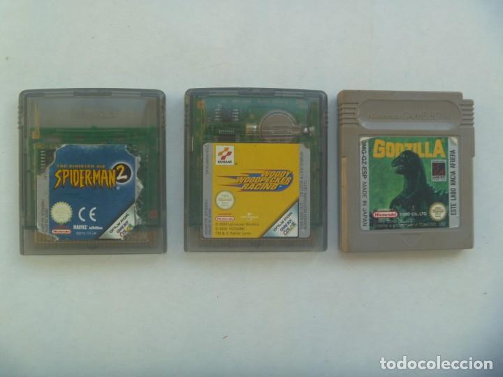 LOTE DE 3 JUEGOS DE GAME BOY Y GAME BOY COLOR, DE NINTENDO: GODZILLA, SPIDERMAN Y PAJARO LOCO (Juguetes - Videojuegos y Consolas - Nintendo - GameBoy)