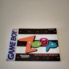 Videojuegos y Consolas: ZOOP GAME BOY MANUAL DE INSTRUCCIONES NINTENDO JUEGO CARTUCHO CONSOLA. Lote 286874468