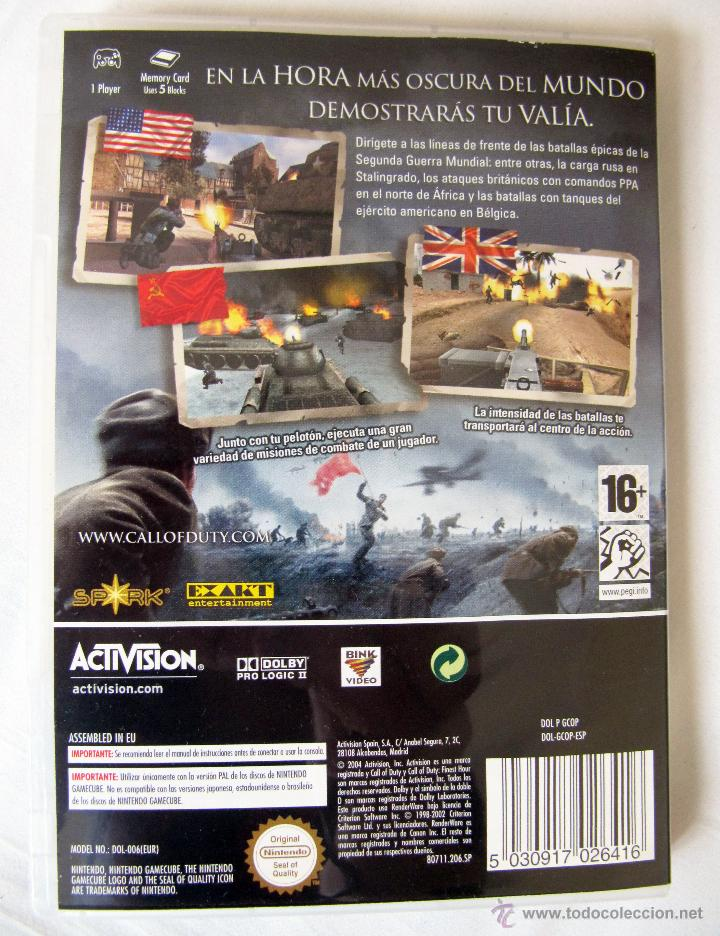 Videojuegos y Consolas: CALL OF DUTY FINEST HOUR PARA NINTENDO GAMECUBE - MANUAL EN CASTELLANO SOFTWARE EN INGLES - Foto 3 - 43577110