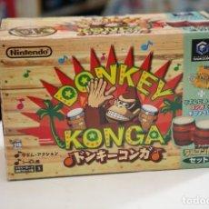 Videojuegos y Consolas: NINTENDO GAMECUBE - BONGOS DONKEY KONGA JP NTSC (2) + JUEGO DONKEY KONGA - EN LA CAJA ORIGINAL. Lote 179202508
