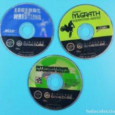 Videojuegos y Consolas: LOTE 3 JUEGOS NINTNDO GAME CUBE: LEGENDS OF WRESTLING+INTERNATIONAL SUPERSAR SOCCER + JEREMY MCGRATH. Lote 180842586