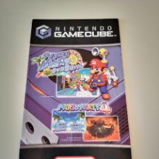 Videojuegos y Consolas: POSTER FOLLETO PUNTOS NINTENDO GAMECUBE SUPER MARIO SUNSHINE Y MARIO PARTY 4 GAME CUBE. Lote 227725765