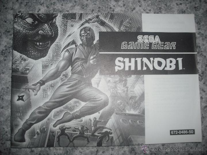 MANUAL INSTRUCCIONES SHINOBI - SEGA GAME GEAR EN PERFECTO ESTADO - GAMEGEAR (Juguetes - Videojuegos y Consolas - Sega - GameGear)