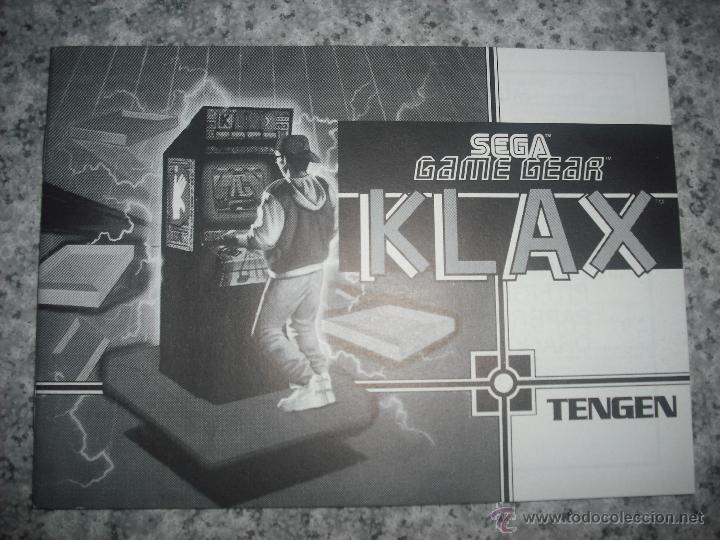 MANUAL DE INSTRUCCIONES JUEGO KLAX - SEGA GAMEGEAR - EN PERFECTO ESTADO - GAME GEAR (Juguetes - Videojuegos y Consolas - Sega - GameGear)