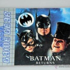 Videojuegos y Consolas: SEGA GAME GEAR MANUAL INSTRUCCIONES BATMAN RETURNS. Lote 52949566