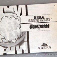 Videojuegos y Consolas: SEGA GAME GEAR MANUAL INSTRUCCIONES NBA JAM. Lote 52950148