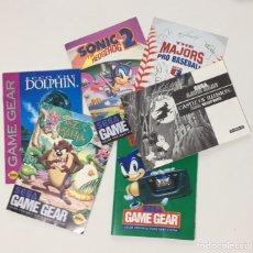 Videojuegos y Consolas: LOTE MANUALES SEGA GAME GEAR, SONIC, TAZ MANÍA, DOLPHIN, MICKEY, MAJORS PRO BASEBALL Y PÓSTER BATMAN. Lote 112164247