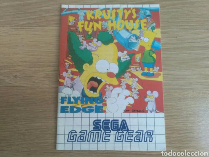 SEGA GAMEGEAR INSTRUCCIONES DE KRUSTY'S FUN HOUSE (Juguetes - Videojuegos y Consolas - Sega - GameGear)