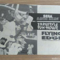 Videojuegos y Consolas: SEGA GAME GEAR INSTRUCCIONES DE KRUSTY'S FUN HOUSE. Lote 176671264