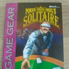 Videojuegos y Consolas: SEGA GAME GEAR INSTRUCCIONES DE POKER FACE PAUL'S SOLITAIRE. Lote 176671667
