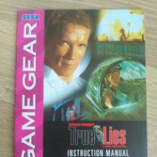 Videojuegos y Consolas: SEGA GAME GEAR INSTRUCCIONES DE TRUE LIES. Lote 176671824