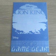 Videojuegos y Consolas: SEGA GAMEGEAR INSTRUCCIONES DEL REY LEON. Lote 195098850