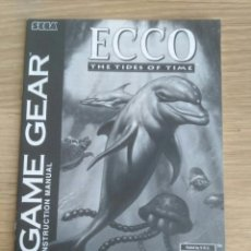 Videojuegos y Consolas: SEGA GAME GEAR INSTRUCCIONES DE ECCO THE TIDES OF TIME. Lote 197957588