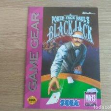 Videojuegos y Consolas: SEGA GAMEGEAR INSTRUCCIONES DE POKER FACE PAUL'S BLACK JACK. Lote 201807865