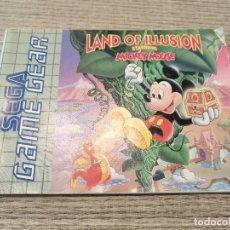 Videojogos e Consolas: VIDEOJUEGO SÓLO MANUAL GAMEGEAR GAME GEAR MICKEY MOUSE LAND OF ILLUSION. SEGA. Lote 204451490