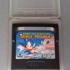 Videojuegos y Consolas: SEGA GAME GEAR SONIC HEDGEHOG TRIPLE TROUBLE CARTUCHO+FUNDA ORIGINAL PAL RARO!! R11028. Lote 205794368