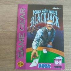 Videojuegos y Consolas: SEGA GAMEGEAR INSTRUCCIONES DE POKER FACE PAUL'S BLACK JACK. Lote 218243972