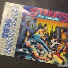 Videojuegos y Consolas: SEGA GAME GEAR STREETS OF RAGE GUIA DE JUEGO.. Lote 220870648
