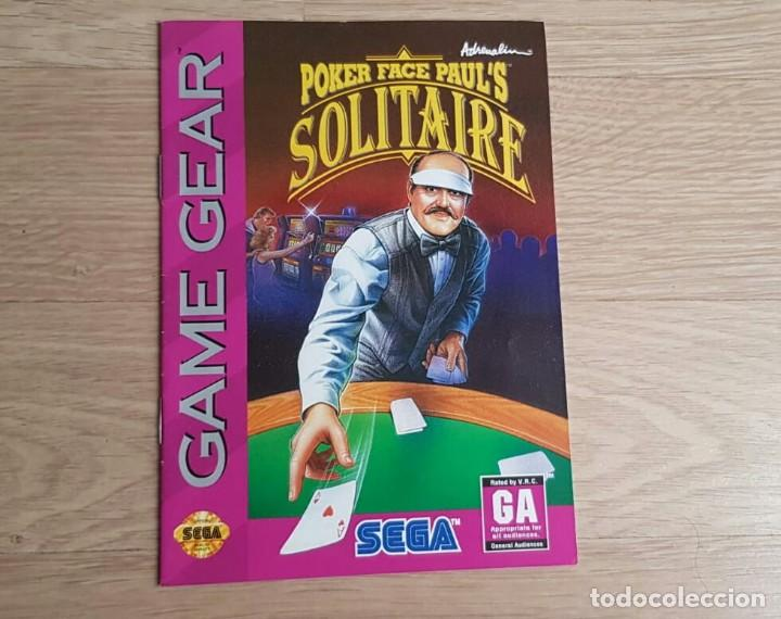 SEGA GAME GEAR INSTRUCCIONES DE POKER FACE PAUL'S SOLITAIRE (Juguetes - Videojuegos y Consolas - Sega - GameGear)
