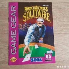 Videojuegos y Consolas: SEGA GAME GEAR INSTRUCCIONES DE POKER FACE PAUL'S SOLITAIRE. Lote 243293955