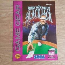 Videojuegos y Consolas: SEGA GAMEGEAR INSTRUCCIONES DE POKER FACE PAUL'S BLACK JACK. Lote 276707313