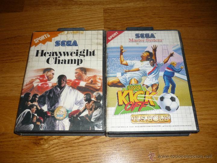 JUEGO CON MANUAL HEAVYWEIGHT CHAMP SEGA MASTER SYSTEM Y KICK OFF ESPAÑOL COMPLETO B.E. (Juguetes - Videojuegos y Consolas - Sega - Master System)