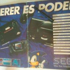 Videojuegos y Consolas: POSTERS DE REVISTA VIDEOJUEGO SEGA,MASTER SYSTEM II-SONEMEGA DRIVE.ANTIGUO.PUBLICITARIO.EN DOS PAGIN. Lote 116996935