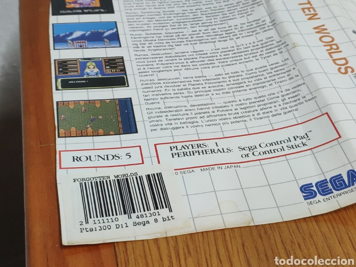 Videojuegos y Consolas: Carátula y cartucho FORGOTTEN WORLDS SEGA MASTER SYSTEM - Foto 7 - 202355798