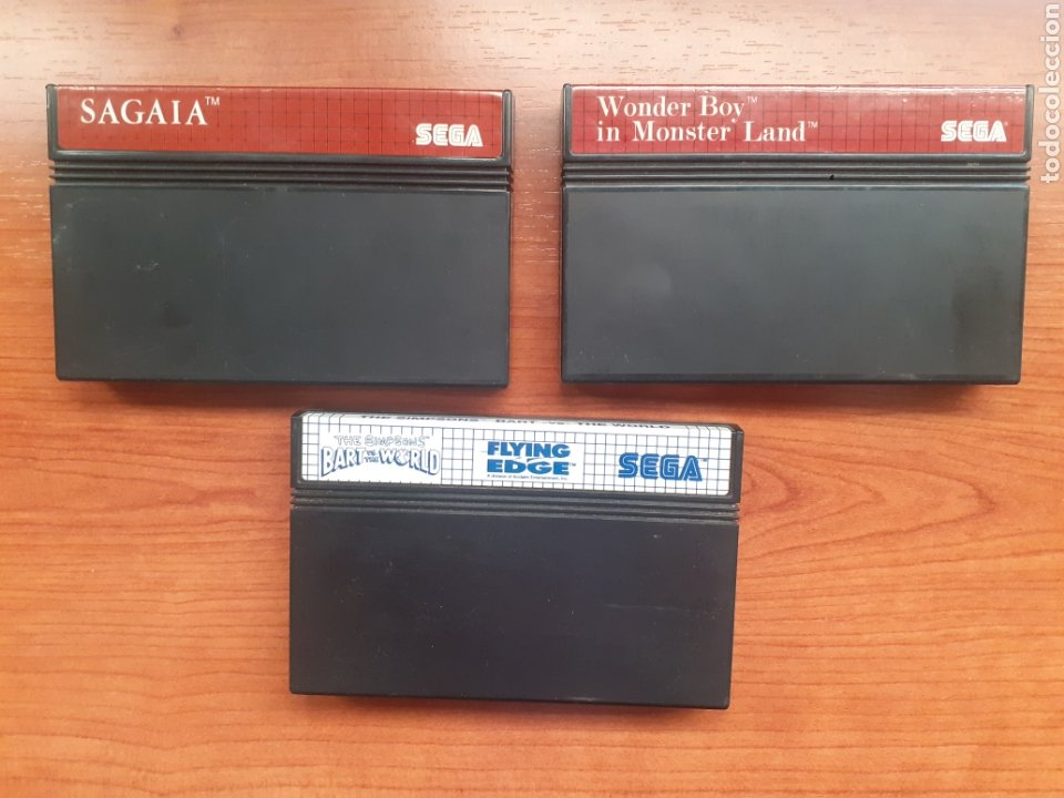 "LOTE 3 CARTUCHOS ORIGINALES ""SAGAIA , THE SIMPSONS BART VS THE WORLD ,WONDER BOY IN MONSTER LAND"" (Juguetes - Videojuegos y Consolas - Sega - Master System)"