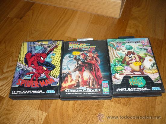 3 JUEGOS PARA CONSOLA SEGA MEGA DRIVE TAZMANIA REGRESO AL FUTURO III SPIDERMAN (Juguetes - Videojuegos y Consolas - Sega - MegaDrive)