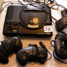 Videojuegos y Consolas: ANTIGUA CONSOLA SEGA MEGADRIVE 16 BIT CON MANDOS VARIOS Y TRANSFORMADOR. Lote 44860426