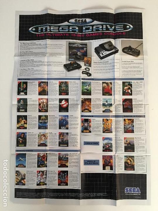 LOTE DE 2 PÓSTERS CATÁLOGO DE JUEGOS SEGA MEGADRIVE. POSTERS DE SONIC Y SUPER MÓNACO GP. AÑOS 90-91 (Juguetes - Videojuegos y Consolas - Sega - MegaDrive)