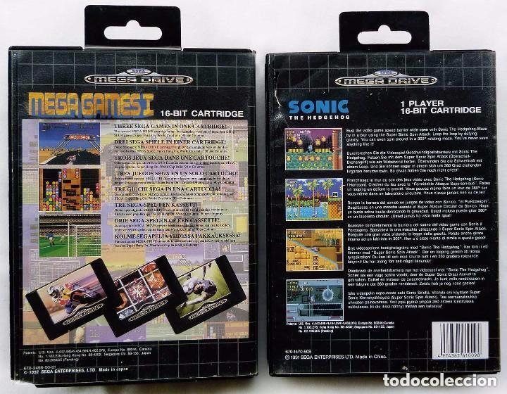 Videojuegos y Consolas: 2 JUEGOS SEGA MEGA DRIVE. MEGA GAMES I y SONIC THE HEDGEHOG. AÑO: 1991. - Foto 3 - 97782659