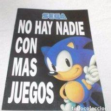Videojuegos y Consolas: CATALOGO DE PUBLICIDAD SEGA NO HAY NADIE CON MAS JUEGOS DEL AÑO 1992 MUY BUEN ESTADO. Lote 102835083