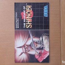 Videojuegos y Consolas: MANUAL THE REVENGE OF SHINOBI SEGA. Lote 103844271