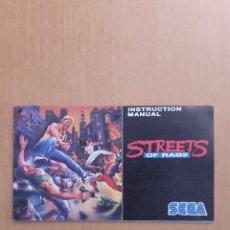 Videojuegos y Consolas: MANUAL STREETS OF RAGE SEGA. Lote 103844839