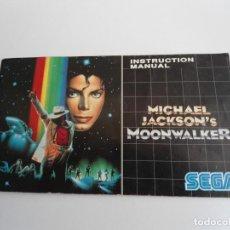 Videojuegos y Consolas: MOONWALKER MICHAEL JACKSON´S - MEGA DRIVE - SEGA MEGADRIVE - MANUAL INSTRUCCIONES - MUY BUEN ESTADO. Lote 109319527