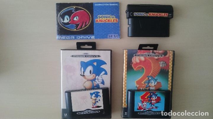 SONIC THE HEDGEHOG + SONIC 2 + SONIC AND KNUCKLES PAL SEGA MEGA DRIVE (Juguetes - Videojuegos y Consolas - Sega - MegaDrive)